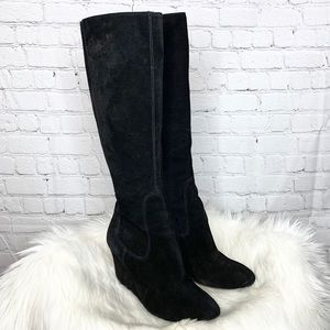 Nine West Heartset Suede Wedge Knee High Boots